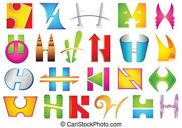 alfabeto, differente, icona, h