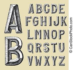 alfabeto, disegnare, disegno, schizzo, mano
