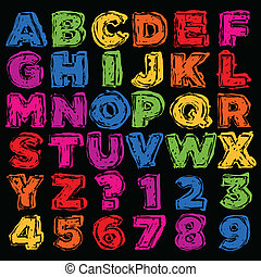 alfabeto, disegnato, nu, colorito, mano