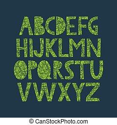 alfabeto, disegnato, organico, struttura, mano