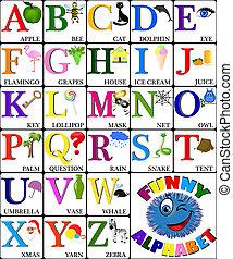 alfabeto, divertente, immagini