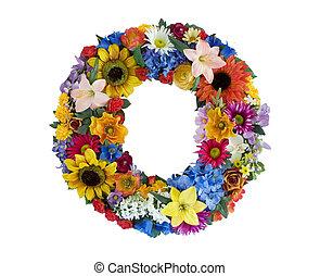 alfabeto, fiore, -, o