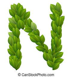 alfabeto, foglie, verde, lettera n