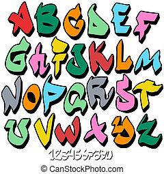 alfabeto, font, graffito