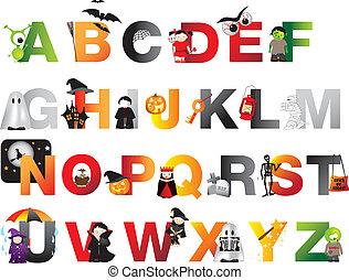 alfabeto, halloween