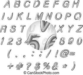 alfabeto, illustrazione, calligraphic, acquarello, vettore, nero