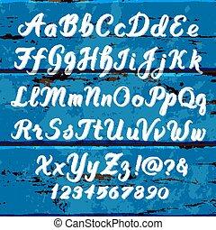 alfabeto, legno, set, scritto mano