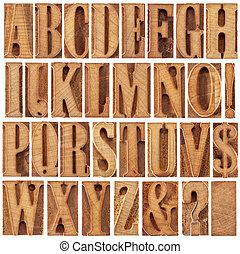 alfabeto, legno, tipo, letterpress