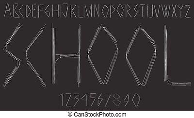 alfabeto, lettere, numeri, scritto mano