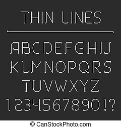 alfabeto, linea, numeri