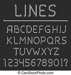 alfabeto, linea, retro, numeri