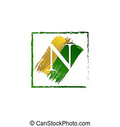 alfabeto, logotipo, elegante, n, oro, schizzo, verde, lettera, grunge