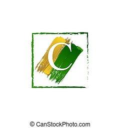 alfabeto, logotipo, elegante, schizzo, oro, verde, c, lettera, grunge