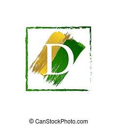 alfabeto, logotipo, elegante, schizzo, oro, verde, lettera, grunge, d
