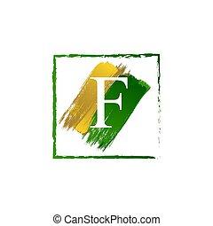 alfabeto, logotipo, elegante, schizzo, oro, verde, lettera, grunge, f