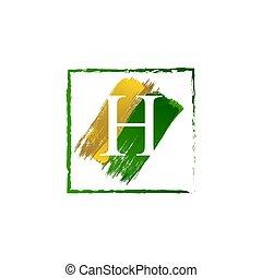 alfabeto, logotipo, elegante, schizzo, oro, verde, lettera, grunge, h