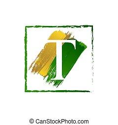 alfabeto, logotipo, elegante, schizzo, oro, verde, lettera, grunge, t