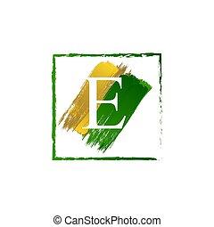 alfabeto, logotipo, elegante, schizzo, oro, verde, lettera, grunge
