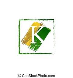 alfabeto, logotipo, elegante, schizzo, oro, verde, lettera k, grunge