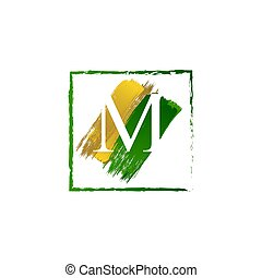 alfabeto, logotipo, elegante, schizzo, oro, verde, lettera m, grunge