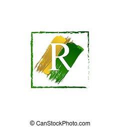 alfabeto, logotipo, elegante, schizzo, oro, verde, lettera, r, grunge