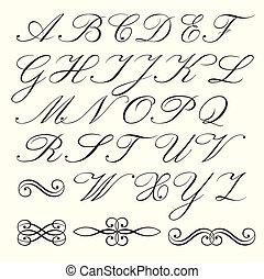 alfabeto, manoscritto