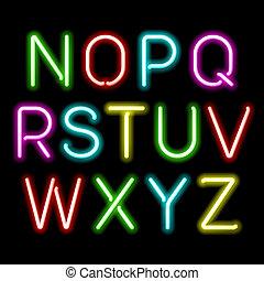 alfabeto, neon, splendore