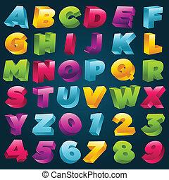 alfabeto, numeri, colorito, 3d