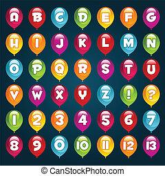 alfabeto, palloni, festa