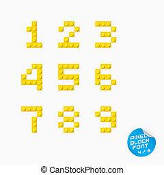 alfabeto, pixel, blocco