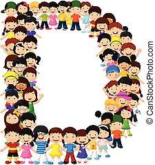 alfabeto, poco, bambini, d, forma