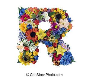 alfabeto, r, -, fiore