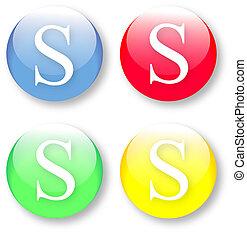 alfabeto, s, icona, lettera, inglese