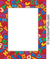 alfabeto, sfondo rosso, cornice