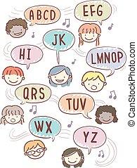 alfabeto, stickman, bambini, rima, illustrazione