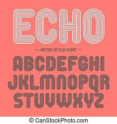 alfabeto, stile, font, retro