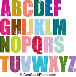 alfabeto, stile, letterpress