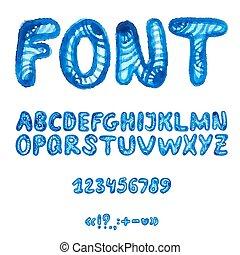 alfabeto, symbols., acquarello, scritto mano