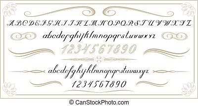 alfabeto, vecchio, numeri, lettere, scritto mano