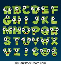 alfabeto, verde, cartone animato