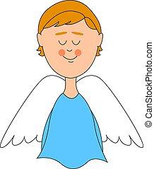 ali, angelo, illustrazione, fondo., vettore, bianco