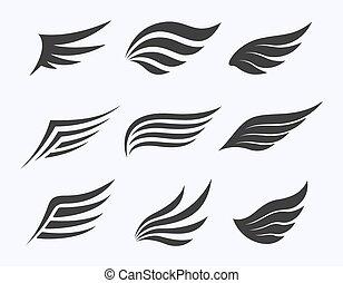 ali, bianco, vettore, illustrazione, set, fondo
