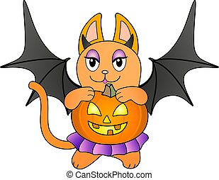 ali, colorare, illustration., porta, pieno, zenzero, pipistrello, zucca, gattino, lanterna, viola, cricco, vettore, halloween, gonna, gattino, -, costume