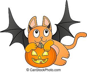 ali, colorare, illustration., porta, pieno, zenzero, pipistrello, zucca, lanterna, carino, cricco, vettore, halloween, gatto, gattino, -, costume