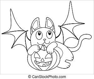 ali, costume, immagine, coloring., pipistrello, zucca, lanterna, carino, paws, outline., lineare, cricco, vettore, elemento, halloween, -, gatto