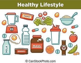 alimento dieta, sport, nutrizione, sano, idoneità, manifesto, icons.