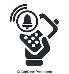 allarme, isolato, illustrazione, telefono, singolo, vettore, icona