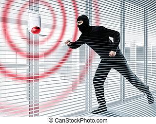 allarme, ladro, rubare