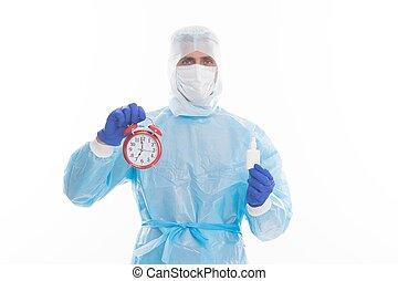 allarme, prescritto, medicina, presa, medico, promemoria, covid-19, regolare, orologio, immissione