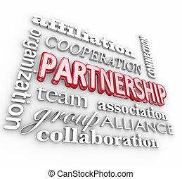 alleanza, parola, collage, associazione, squadra, associazione, 3d